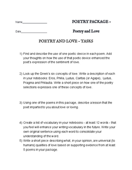 Poetry of Love / Romance - Reading Package with 6 assignme