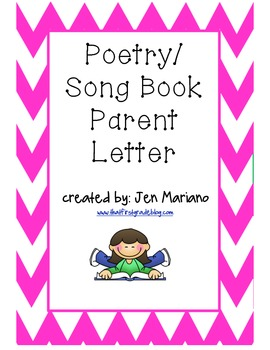 Poetry/Song Book Parent Intro Letter