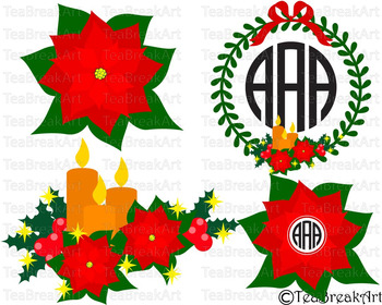 Poinsettia Christmas Floral Frame Cutting Files SVG PNG EP
