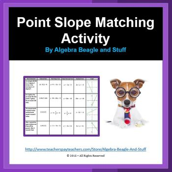 Point Slope, Slope Intercept and Standard Form Matching Activity