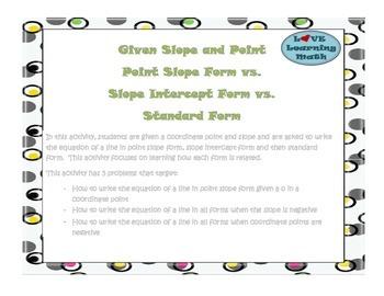Point Slope, Slope Intercept, and Standard Form of Lines