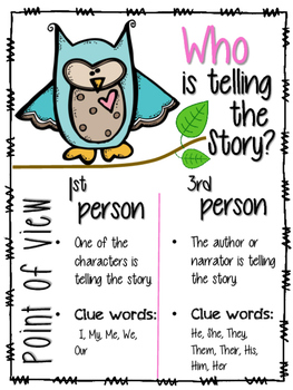 Point of View Anchor Chart 1st person Point of view and 3r