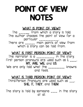 Point of view notes to go with the powerpoint