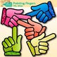 Pointing Fingers Clip Art {Rainbow Glitter Hands for Class
