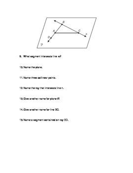 Points, Lines, & Planes QUIZ
