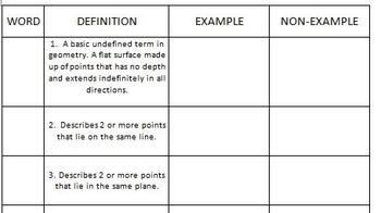 Points, Lines, Planes Vocab match
