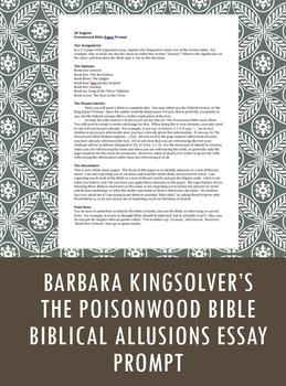 Poisonwood Bible Paper Prompt