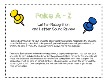 Poke A-Z Letter Recognition and Letter Sound Review