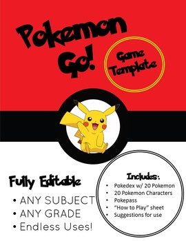 Pokemon Go! Fun Simulation Game/Activity - editable for an