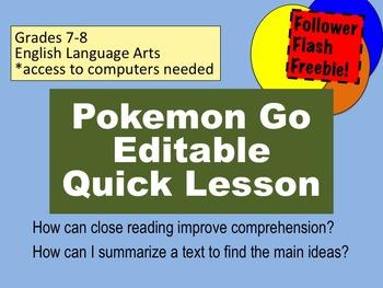 Pokemon Go Lesson Grades 7 and 8