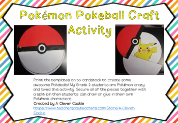 Pokemon pokeball craft activity