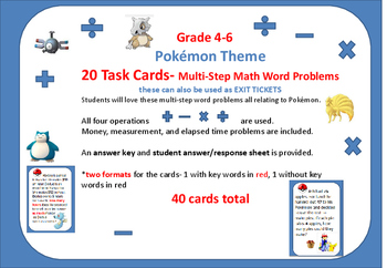 Pokémon theme Multi-Step Math Word Problems  Gr 4-6