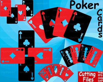 Poker Playing cards clip art casino games Cutting SVG EPS