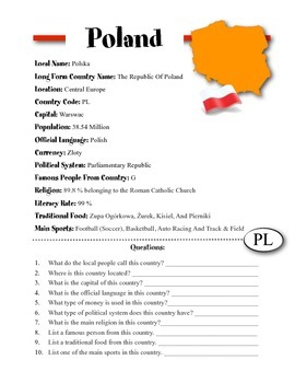 Poland Information & Worksheet