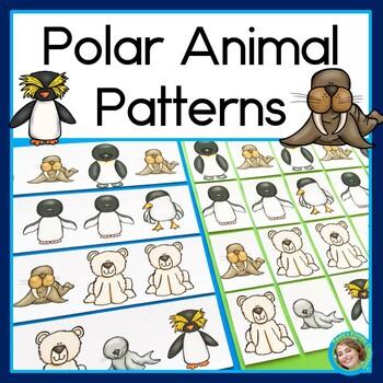 Polar Animal Patterns Math Center with AB, ABC, AAB & ABB
