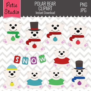 Polar Bear Clipart // Winter Bear Clipart // Christmas Cli