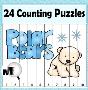 Polar Bears Math Counting Puzzles - Numbers 1-120 - Winter