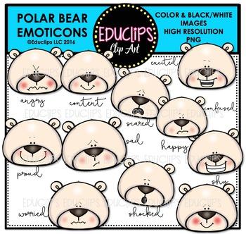 Polar Bear Emoticons Clip Art Bundle