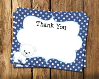 Polar Bear Flat Thank You Note Cards
