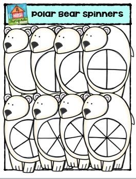 Polar Bear Spinners {P4 Clips Trioriginals Digital Clip Art}