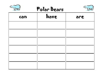 Polar Bears Graphic Organizer