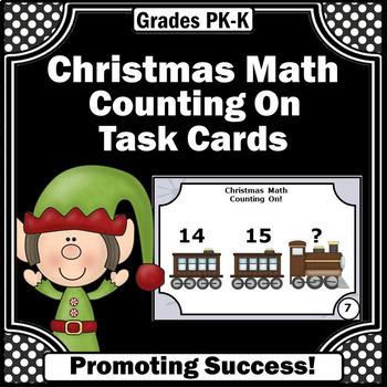 Christmas Math Counting On Task Cards Kindergarten Math Ga