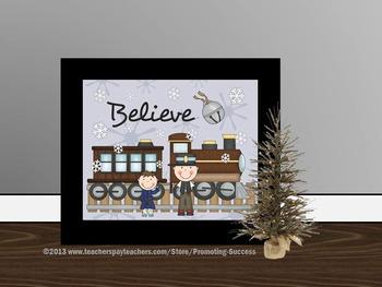 Christmas Poster Train Classroom Decor