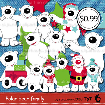 Polar bear family christmas clipart commersial use - Bundle