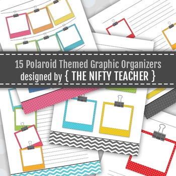 Polaroid Themed Colorful Graphic Organizers (5 layouts in