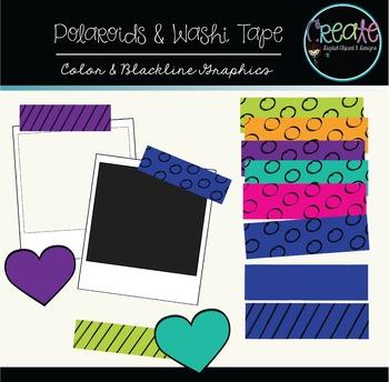 Polaroids & Washi Tapes - Digital Clipart