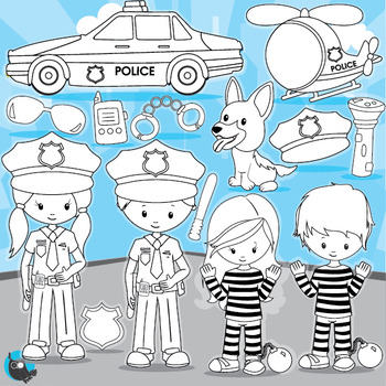 Police officer stamps commercial use, vector graphics, ima