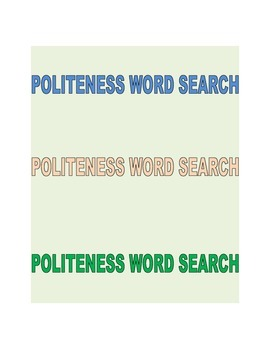 Politeness Word Search