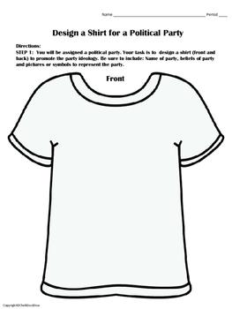 Political Parties – Create a T-Shirt Activity (CIVICS(