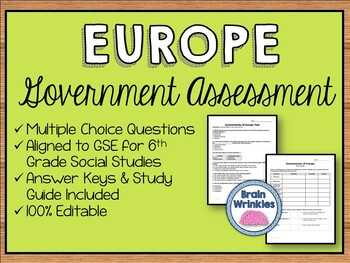 Political Systems of Europe Assessment (Editable)
