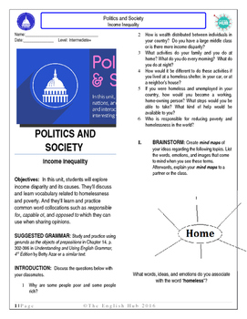 Politics and Society (Unit C Pack): Income Inequality (ESL