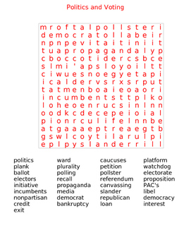 Politics and Voting Word Search