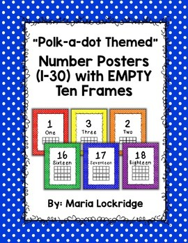 Polk-a-dot Number Posters (1-30) with EMPTY Ten Frames