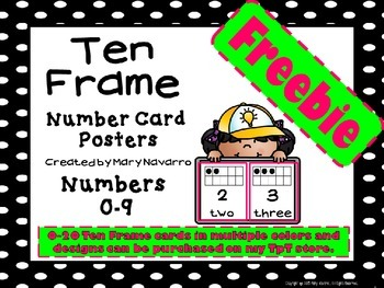 Polka Dot 0-9 Ten Frame Number Card Posters Freebie