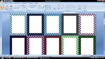 Polka Dot 1 Inch Border for Microsoft Word Documents