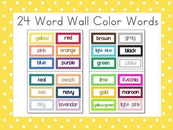 Polka Dot 24 Word Wall Color Words FREE