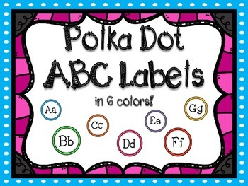Polka Dot ABC Labels for Word Walls & Classrooms