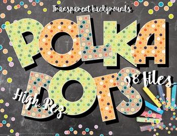 "Polka Dot Alphabet Clip Art /  97 pcs - 3"" High, Vector PD"
