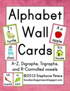 Polka Dot Alphabet Wall Cards ~ A-Z, digraphs, trigraphs,