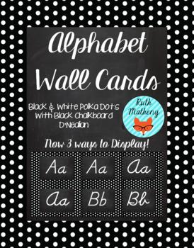 Polka Dot Alphabet Wall Cards D'Nealian - Black & White