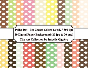 Digital Papers - 20 Polka Dot Ice Cream Colors (Commercial Use)