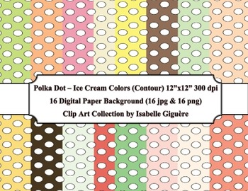 Digital Papers - 16 Polka Dot Ice Cream Colors (Contour-Co
