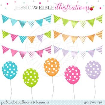 Polka Dot Balloons & Banners Cute Digital Clipart, Balloon