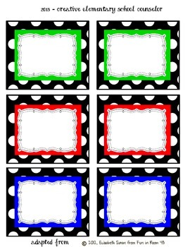 Primary Colors Polka Dots - Bin Labels