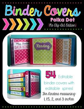 Polka Dot Binder Covers - Editable {No Clip Art Edition}