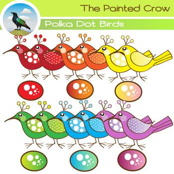 Polka Dot Birds Clipart - Color & Black Line Illustrations